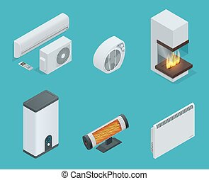 Home climate equipment isometric icon set fireplace, Convector Heater, electric heater, Infrared heater, Boiler, air conditioner