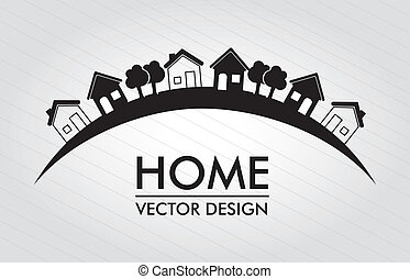home  design over lines background vector illustration