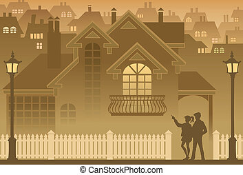 Home - Two people are looking at their own home