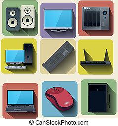 Home computer equipment set icons