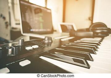 Home computer music studio equipment set up