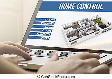 home computing house automation - smart home concept: man...