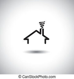 home concept vector icon with roof, chimney & smoke. This...