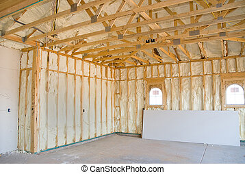 Home construction and insulation - A room at a newly...