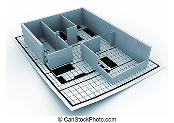 Home construction. Blueprint. (Architectural background)
