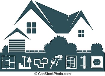 Home Construction Design - House building symbol design for...