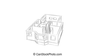 Home construction - High quality animation of a house being...