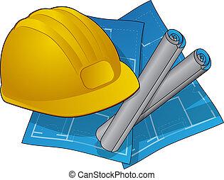 Hard hat and blue prints symbol