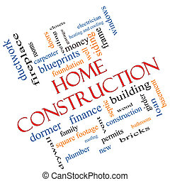 Home Construction Word Cloud Concept Angled