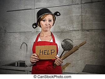 home cook woman confused and frustrated in apron and cooking...