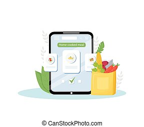 Home-cooked meals online order mobile application flat concept vector illustration. Certified home-kitchen, homemade eating delivery service. Ready-to-eat nutrition ordering app creative idea