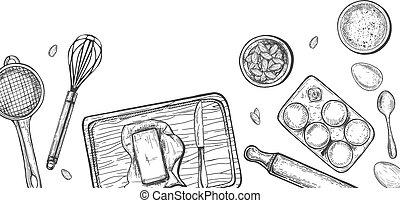 Home cooking bake still life sketch - Vector illustration of...