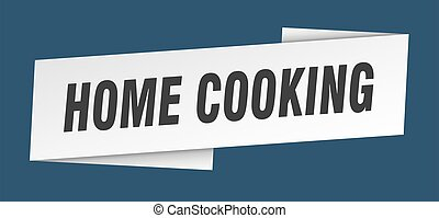 home cooking banner template. ribbon label sticker. sign