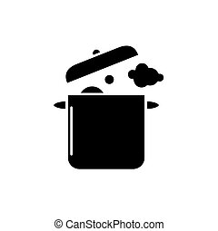 Home cooking black icon, vector sign on isolated background. Home cooking concept symbol, illustration