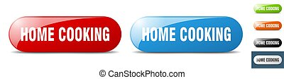 home cooking button. sign. key. push button set