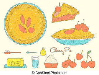 Home cooking Cherry Pie, sketching art in a retro style