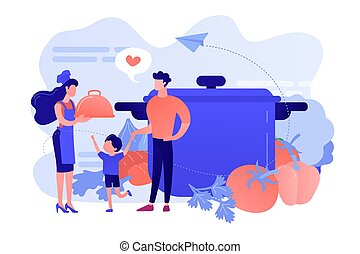 Home cooking concept vector illustration.