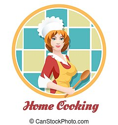 Beautiful woman with cook spoon. Culinary or Home cooking emblem. vector illustration.