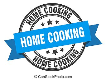 home cooking label sign. round stamp. ribbon. band