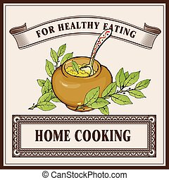 Home cooking logo banner template. Porridge in ceramic pot with laurel branches.