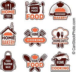 Home cooking logo. Kitchen badges vector collection bakery silhouettes vector illustrations