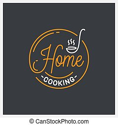 Home cooking logo. Round linear of ladle on black