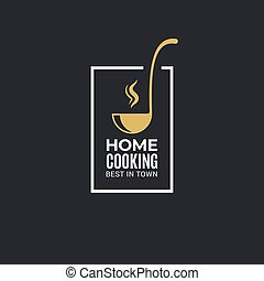 Home cooking logo with ladle on black background 8 eps