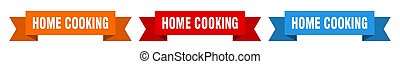 home cooking ribbon. home cooking isolated paper banner. sign