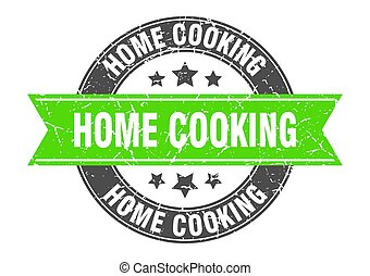 home cooking round stamp with ribbon. label sign - home ...