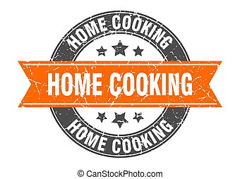 home cooking round stamp with ribbon. label sign