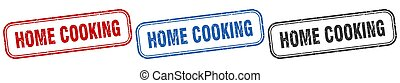 home cooking square isolated sign set. home cooking stamp