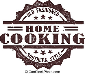 A vintage style southern home cooking stamp.