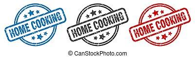 home cooking stamp. home cooking round isolated sign. home cooking label set