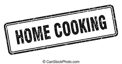 home cooking stamp. square grunge sign on white background