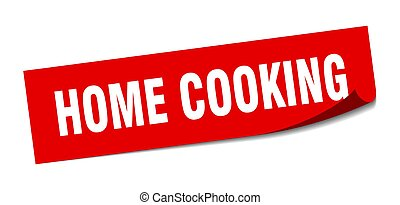 home cooking sticker. square isolated peeler sign. label