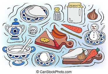 Home Cooking vector illustration. Set of food cartoon hand drawn abstract elements