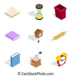 Home cosiness icons set, isometric style - Home cosiness...