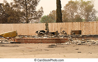 Home damaged by wildfire firestorm in Redding, CA - home ...
