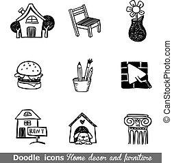 Home decor doodle icon set