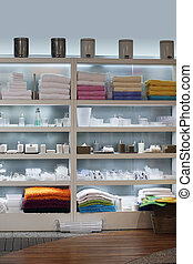 Home decor objects - Store interior - shelves with home...