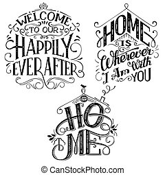 Home decor quotes signs set isolated on white background....