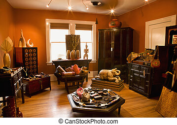 Home decor store. - Interior of eclectic home store.