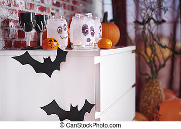 Home decorated for halloween party