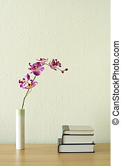 Home decoration - Books and flower, home decoration concept