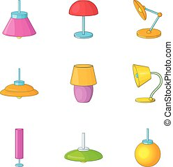 Home decoration lamp icons set, cartoon style