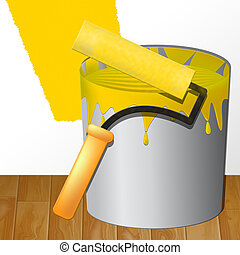 Home Decoration Showing House Painting 3d Illustration