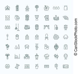 Home Decoration, vector thin line icons