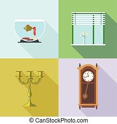 Home decorations set. Digital vecto