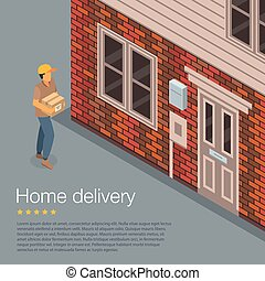 Home delivery concept background, isometric style