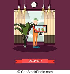 Home delivery concept vector illustration in flat style